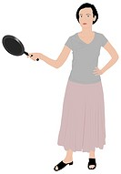 beautiful girl illustration holding a kitchen pan