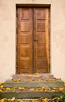Traditional wooden doors in old house