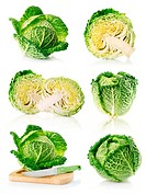 set fresh green cabbage fruits isolated on white background