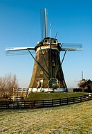 A traditional Dutch windmill at Leidschendam, the Netherlands