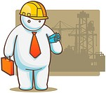Illustration of White Man with helmet and holding blueprint