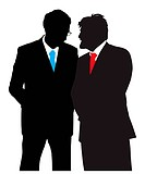 Two businessmen talking about a business plan. Isolated white background. EPS file available.