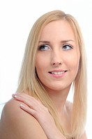 Portrait of smiling beautiful woman with hand on shoulder _ white isolated