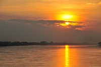 Sunset, Mekong river, on the border between Thailand and Laos, Asia, PublicGround