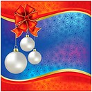 christmas greeting with white balls and red bow