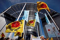 Anti_nuclear demonstration outside the headquarters of the RWE energy company in Essen, North Rhine_Westphalia, Germany, Europe