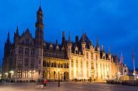 Provinciaal Hof, Provincial Court, Grote Markt market square, old town, UNESCO World Heritage Site, Bruges, Brugge, West Flanders, Flemish Region, Bel...