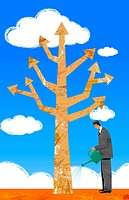 Businessman Watering Arrow Direction Tree