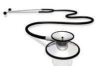 A stethoscope isolated on a white background.