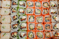 background with different sushi