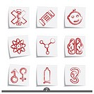 Set of nine post it note medical icons from a series