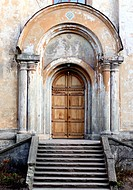 Entrance of the old chuch with doosteps