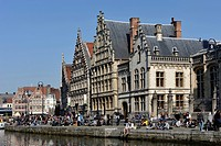 View of the crowded Korenlei in Ghent, Flanders, Belgium, Europe