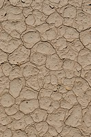 Pattern of cracked mud left in a dry lake bed after the water has evaporated. Vertical shot.