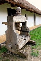 Wine press of the country house in the yard.