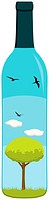 A lovely vector of a tree, grass, clouds and birds inside a wine bottle. Editable vector file in the .eps format.