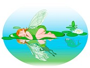 Little cute fairy elf sleeping on Water lily leaf.
