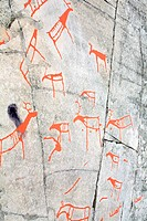 ancient rock carvings petroglyphs in Alta, Norway