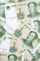 yuan bank notes close up