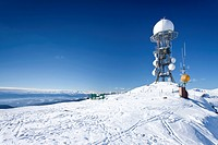 Weather station on Rittnerhorn mountain above Ritten, Renon, Bolzano area, Etschtal valley at the back, province of Bolzano_Bozen, Italy, Europe