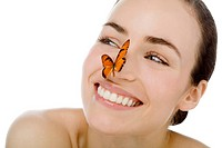 young beutiful woman with butterfly on her