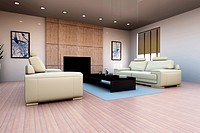 3D rendered Illustration. Interior visualisation of a living room.