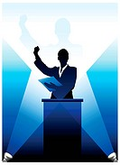 Origianl Vector Illustration: Business/political speaker silhouette behind a podium File is AI8 compatible