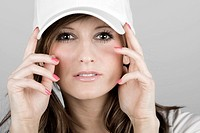 Close Up Shot of a Beautiful Teenager Girl in a White Baseball Cap