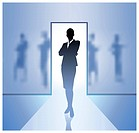 Original Vector Illustration: Young business woman silhouettesAI8 compatible