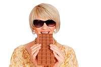 woman eat large chocolate