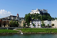 Hohensalzburg Castle, Salzach River, city of Salzburg, Salzburger Land, Austria, Europe