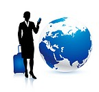 Businesswoman traveler with GlobeOriginal Vector IllustrationTraveling Around The World Ideal for business concepts