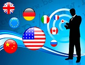 Businessman communication background with internet flag backgroundOriginal Vector Illustration
