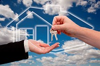 Handing Over the House Keys on Ghosted Home Icon, Clouds and Sky