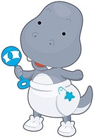 A Cute Baby T_rex Playing with a Toy _ vector