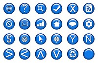 Web Icons Set in Aqua Blue Symbols
