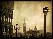 Campanile and the Column of the Lion of St  Mark, vintage look, Venice, Italy, Europe