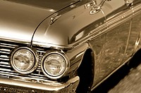 Head lamp of a muscle car close up shot