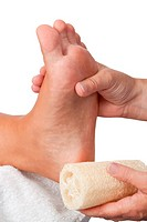 Callus removal with a sponge _ isolated