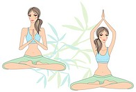yoga girls sitting in lotus pose, vector