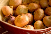 group of onion in a bowl, macro, shallow DOF