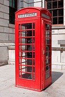 A British red telephone box in London