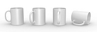 Set of white mugs in various viewing perspectives. 3D rendered illustration.