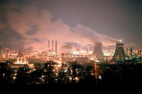 Grangemouth oil refinery at night, Scotland
