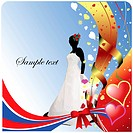 Wedding or Valentine`s Day Greeting Card. Vector illustration. Invitation card