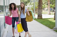 Two women with shopping bags (thumbnail)