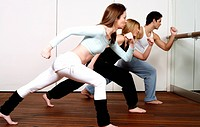 Students learning a basic Capoeira move (thumbnail)