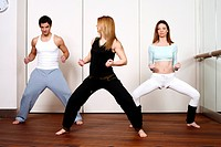 Students in an Active Tae Bo class, waist down
