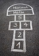 Austria, Hopscotch game for kids on street