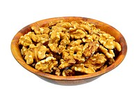 Walnuts in a wooden bowl on white background